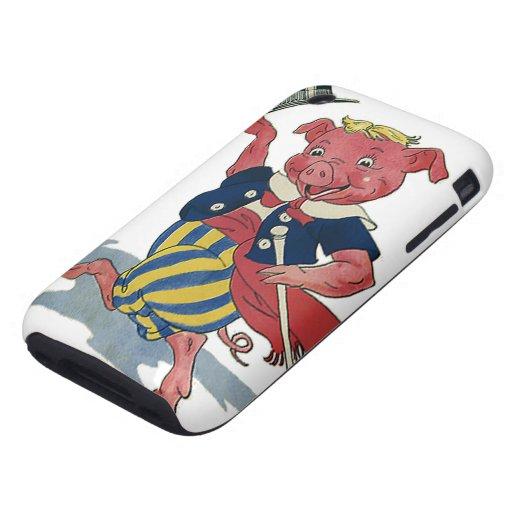 Humor del vintage, danzas felices lindas del cerdo carcasa resistente para iPhone