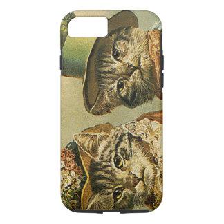 Humor del vintage, gatos del novio de la novia del funda iPhone 7