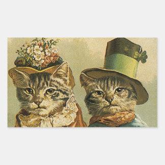 Humor del vintage, gatos del novio de la novia del pegatina rectangular