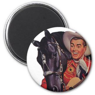 Humor del vintage, música del canto del vaquero a imán redondo 5 cm