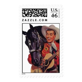 Humor del vintage, música, vaquero que canta a su  sellos