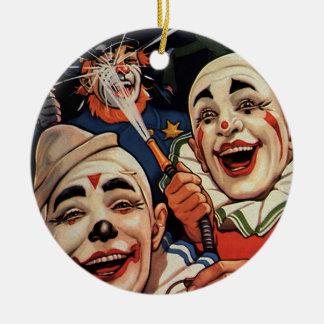 Humor del vintage, payasos de circo de risa y adorno navideño redondo de cerámica