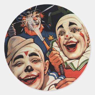 Humor del vintage, payasos de circo de risa y pegatina redonda
