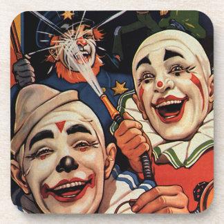 Humor del vintage, payasos de circo de risa y portavasos
