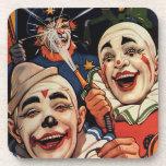 Humor del vintage, payasos de circo de risa y posavasos