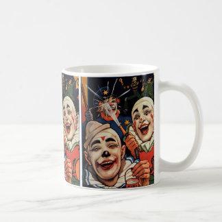 Humor del vintage, payasos de circo de risa y taza de café