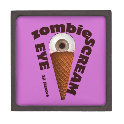 Humor del zombi.  El zombi come grito del ojo Caja De Joyas De Calidad