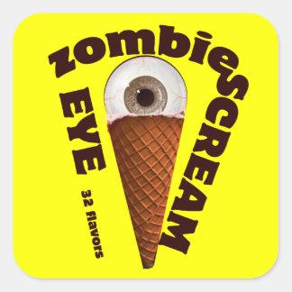 Humor del zombi.  El zombi come grito del ojo Calcomanías Cuadradass Personalizadas