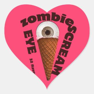 Humor del zombi.  El zombi come grito del ojo Pegatina De Corazón