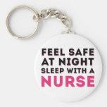 Humor descarado negro rosado de la enfermera llavero redondo tipo pin