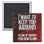 Humor divertido de la apocalipsis de los zombis imán cuadrado