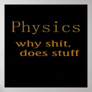 Humor divertido de la física de las camisetas póster