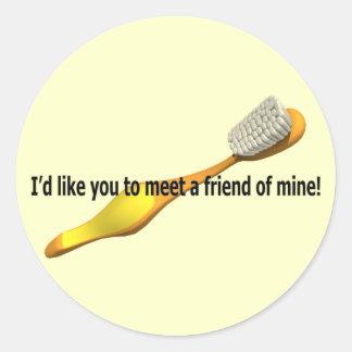 Humor divertido de la higiene oral pegatina redonda
