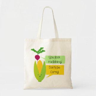 Humor divertido de la verdura del rábano y del bolsa tela barata