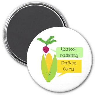 Humor divertido de la verdura del rábano y del imán redondo 7 cm