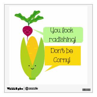 Humor divertido de la verdura del rábano y del vinilo adhesivo