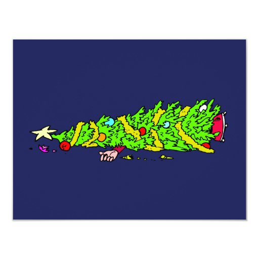 """Humor divertido del árbol de navidad invitación 4.25"""" x 5.5"""""""
