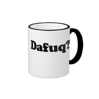 Humor divertido del dafuq taza a dos colores