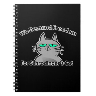 Humor divertido del friki del gato de Schrodinger Libreta Espiral