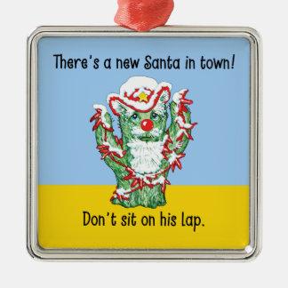 Humor divertido del navidad del cactus de Papá Adorno Cuadrado Plateado
