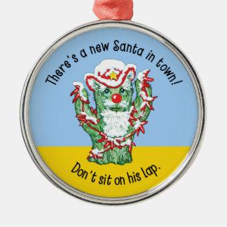 Humor divertido del navidad del cactus de Papá Adorno Redondo Plateado