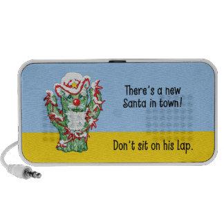 Humor divertido del navidad del cactus de Papá Noe iPod Altavoz