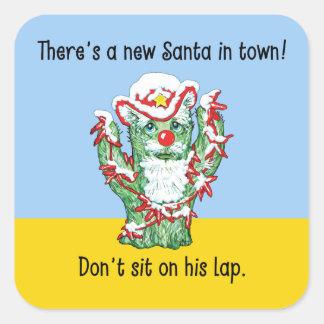 Humor divertido del navidad del cactus de Papá Noe Pegatinas Cuadradases Personalizadas
