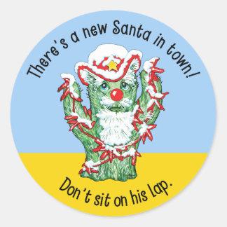 Humor divertido del navidad del cactus de Papá Noe Etiqueta