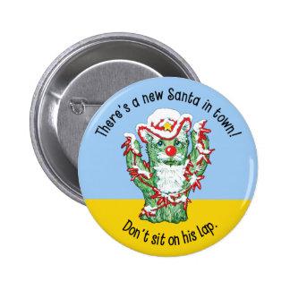 Humor divertido del navidad del cactus de Papá Noe Pins