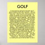 Humor divertido del poster del golf
