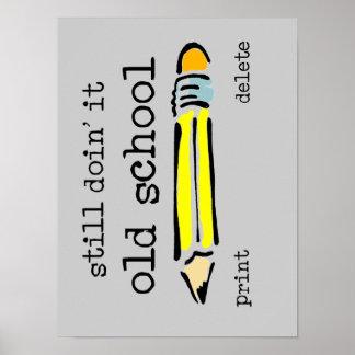 Humor divertido del poster del lápiz de la escuela