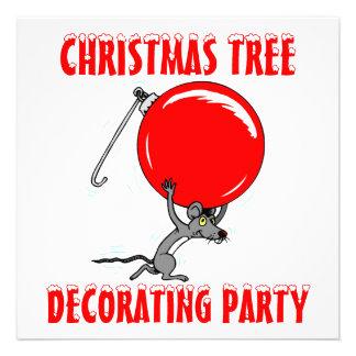 Humor divertido del ratón del árbol de navidad invitación