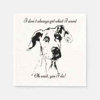 Humor estropeado cita divertida linda del mascota servilletas desechables