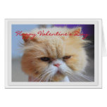 Humor feliz del gato persa del el día de San Valen Felicitacion