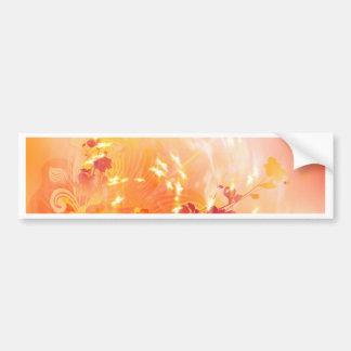 Humor, follaje y flores del otoño etiqueta de parachoque