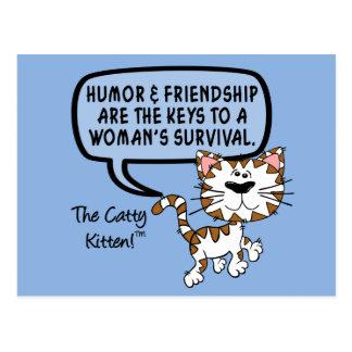 Humor & friendship are necessary for survival postcard