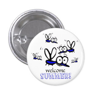 humor funny welcome summer cartoon mosquitoes pinback button