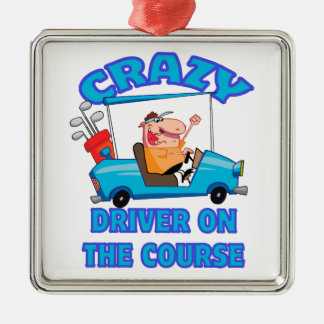 humor golfing de golf del conductor loco del carro adorno navideño cuadrado de metal