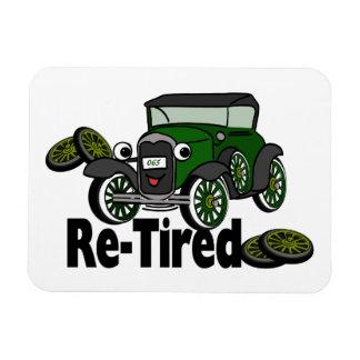 Humor jubilado del coche antiguo imanes de vinilo