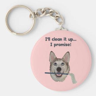 Humor limpio del pis del perro llavero redondo tipo pin