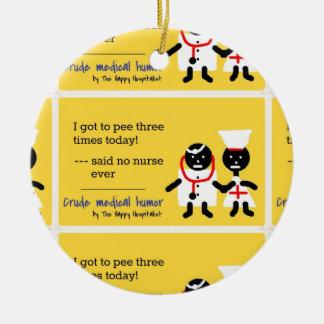 Humor médico adorno navideño redondo de cerámica