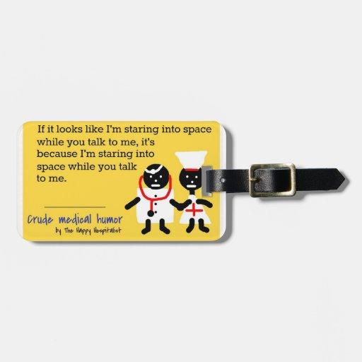 Humor médico etiqueta para maleta