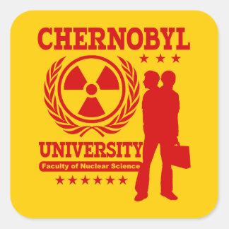Humor nuclear del friki de la ciencia de la pegatina cuadrada