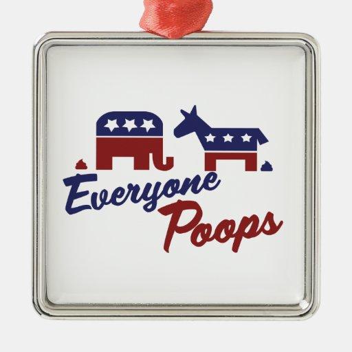 Humor político cada uno impulsos adorno cuadrado plateado