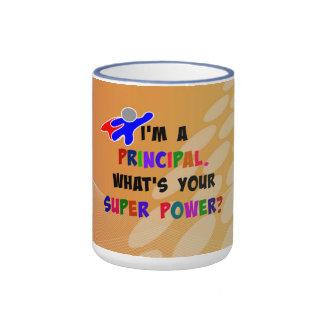 Humor principal del super héroe en diseño taza de dos colores
