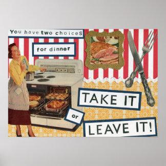 Humor retro de la cena impresiones