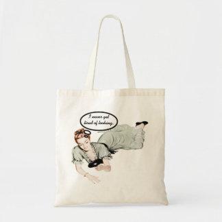 Humor retro de la mujer bolsa tela barata