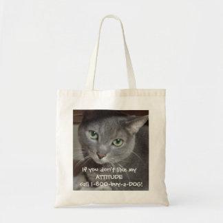 Humor ruso de la actitud del gato del gris azul bolsa tela barata