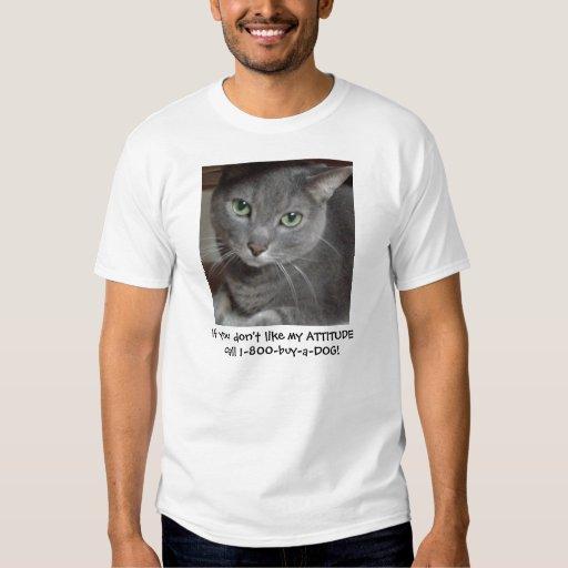 Humor ruso de la actitud del gato del gris azul poleras