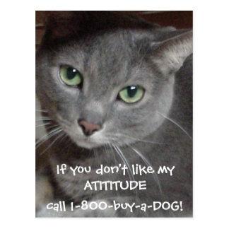 Humor ruso de la actitud del gato del gris azul postales